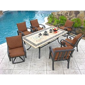 Six piece outdoor dining set on stone patio by pool, patio furniture collections, patio furniture directory.