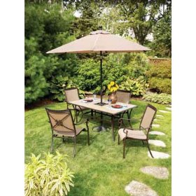 Patio Set With Four Chairs On Grass With Open Umbrella, Patio Furniture  Umbrella, Outdoor