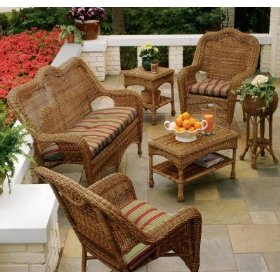 Wicker Couch Sofa And Two Chairs With Coffee Table On Porch Resin Outdoor